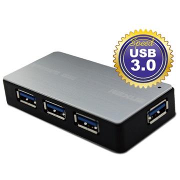 iCooby  U3-08-S 4埠 USB3.0 HUB鐵灰