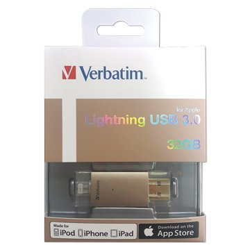 Verbatim 威寶 Lighting 32G USB3.0 Apple OTG 隨身碟-金