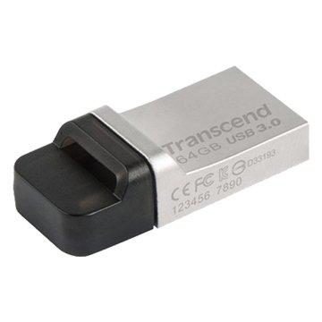 Transcend 創見 JetFlash 880 64GB USB3.0 micro USB OTG  隨身碟-銀