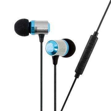 avier  炫彩鋁合金入耳式線控耳機-藍銀