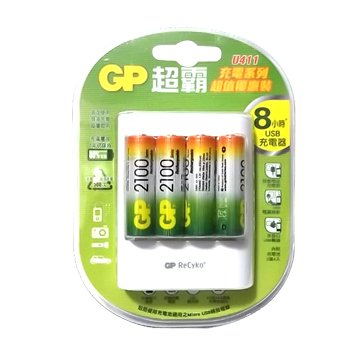 GP 超霸 GP充電器+3號2100mAh 4入