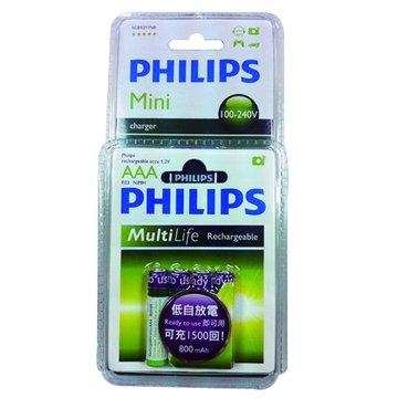 PHILIPS 飛利浦 4號低自放充電池4入+兩槽充電器