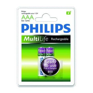 PHILIPS 飛利浦 4號低自放800mAh充電電池2入