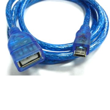 USB2.0 A母/Micro B公 30cm透明藍