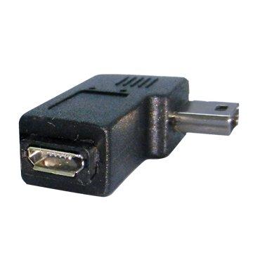 Mini 5pin公/Micro USB母 向左90° 轉接頭