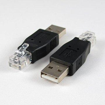 USB A公/RJ11 轉接頭