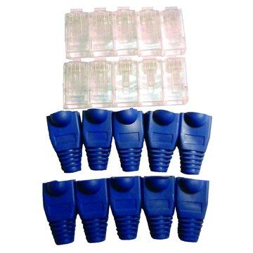 S.C.E 世淇 CAT6.PLUG 藍網路護套組合包10入