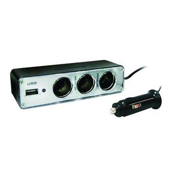 CY-0096/黑色 3孔點煙器擴充座+USB充電槽