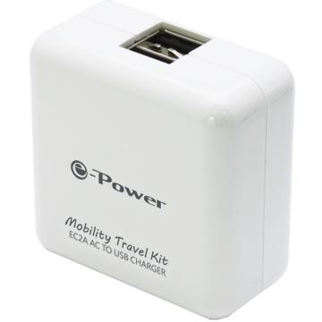 EC2A/白色 /2埠AC轉USB充電器