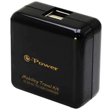 EC2A/黑色 /2埠AC轉USB充電器