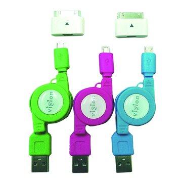 vision 創視 USB A公/Micro USB+Apple+Samsung伸縮線
