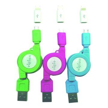 vision 創視 USB A公/Micro USB+Lightning充電傳輸線