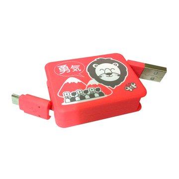 vision 創視 USB A公/Micro USB方型充電傳輸伸縮線