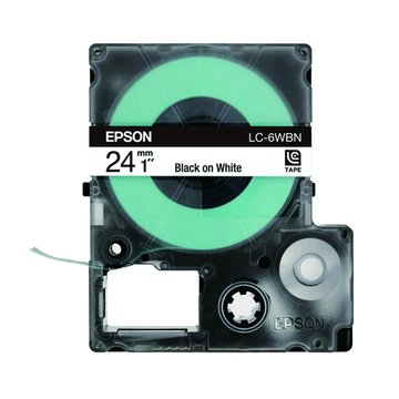 EPSON 愛普生 LC-6WBN (24mm)白底黑字一般標籤帶