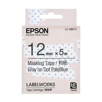 EPSON 愛普生 LC-4BA15 (12mm)粉藍透明點和紙標籤帶