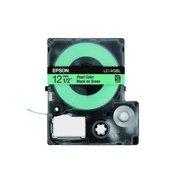 EPSON 愛普生 LC-4GBL (12mm)綠底黑字珍珠彩標籤帶