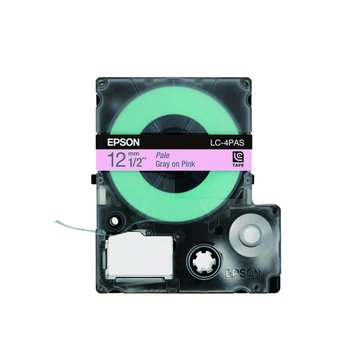 EPSON 愛普生 LC-4PAS (12mm)粉紅底灰字淡彩標籤帶