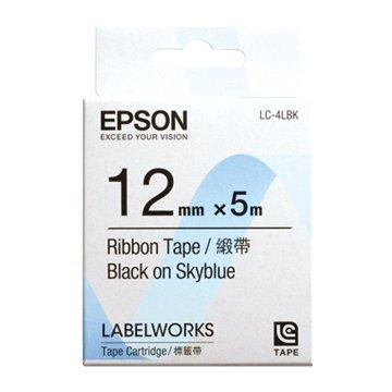 EPSON 愛普生 LC-4LBK (12mm)天空藍底黑字緞帶標籤帶