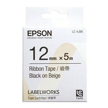 EPSON 愛普生 LC-4JBK (12mm)米底黑字緞帶標籤帶