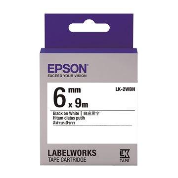 EPSON 愛普生 LK-2WBN(6mm)白底黑字一般標籤帶