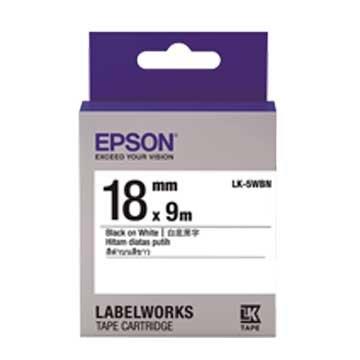 EPSON 愛普生 LK-5WBN(18mm)白底黑字一般標籤帶