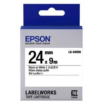 EPSON 愛普生 LK-6WBN (24mm)白底黑字一般標籤帶