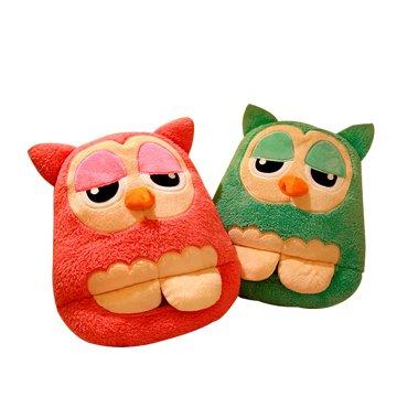 USB 可愛卡通 貓頭鷹暖腳寶-綠色