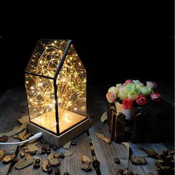 北歐3D立體USBLED創意火樹銀花夜燈-房子