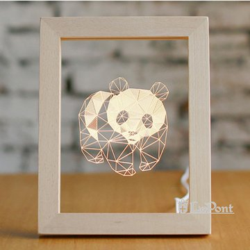 北歐3D立體USBLED創意相框燈-熊貓