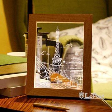 北歐3D立體USBLED創意相框燈-鐵塔
