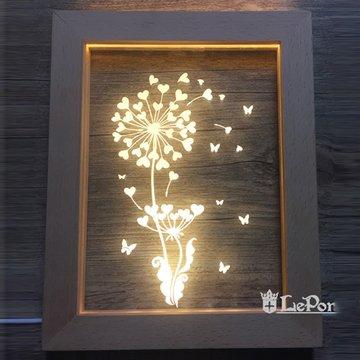 北歐3D立體USBLED創意相框燈-蒲公英